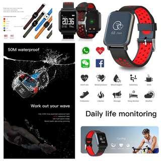 2018[功能強勁 ] Smart Watch 智能手錶 -Facebook, WHATSAPP ,WECHAT 信息顯示/IP68 防水,游泳,來電顯示,血壓,心率監測,卡路里計算,計步器,睡眠監測