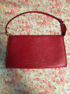 Authentic Louis Vuitton Red Epi Pouchette