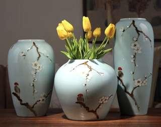 中式花樽 瓦器 淺藍色 中式擺設 裝飾