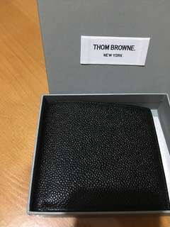 Thom Browne black leather bifold Wallet 任 check