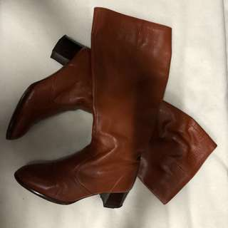 Brown below the knee leather boots