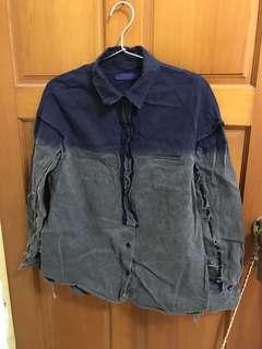 🐦正韓 漸層色 牛仔襯衫 復古色襯衫 挺料