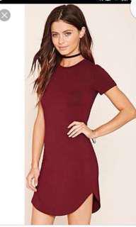 Forever 21 Maroon Shirt Dress