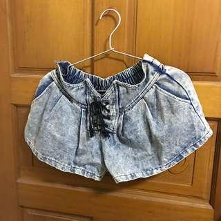 牛仔短褲 復古 刷色 綁袋 短褲 鬆緊短褲
