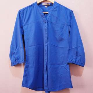 Weekender Royal Blue Button Down Blouse