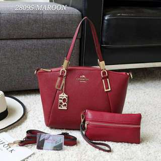 Coach Handbag Maroon Color 2 in 1
