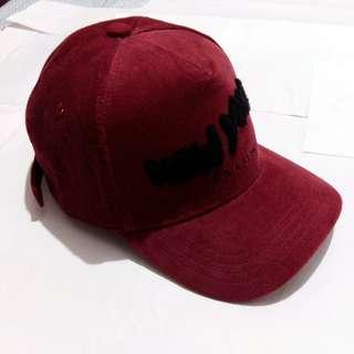 🔴New York 絨面帽子 酒紅色 棒球帽 老帽 鴨舌帽 古著 可調式 紐約 休閒 潮流《藤屋》