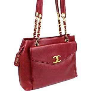 Vintage Chanel紅色魚子醬金扣信封袋Tote bag 33x24x10cm