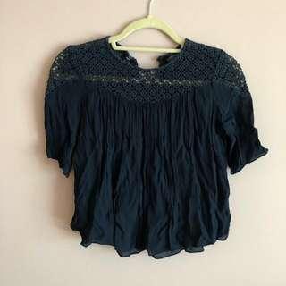 Zara Navy Blue Top (Short Sleeve)