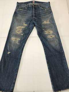 二手美品 NEXUS7 NEXUSVII 重磅水洗 刀割破壞 牛仔褲 (48)