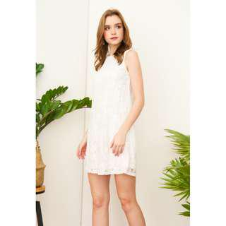 tsw clary lace trapeze dress in white