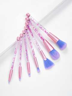 🚚 7pcs Unicorn Series Shiny Crystal Liquid Quicksand Glitter Acrylic Handle Nylon Hair Makeup Tool Brush Set