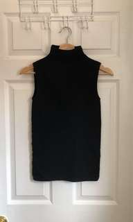 Aritzia Babaton Black Ribbed Sleeveless Turtleneck Top