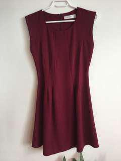 A Line Burgundy Dress