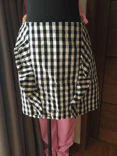 Stradivarius b&w gingham mini skirt with ruffles