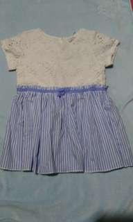 Gingersnaps Tiny 24 white & blue dress