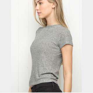brandy grey ribbed t shirt