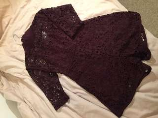 NEW ZARA Small Burgundy Lace Romper
