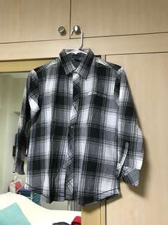 Long sleeved checkered polo