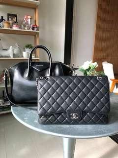Chanel Black Maxi Caviar Quilted Classic 2.55 Jumbo XL Bag