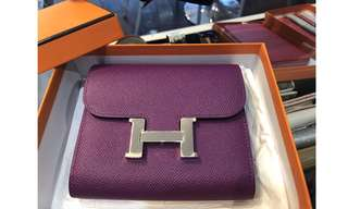Authentic Hermes Anemone Epsom Compact Wallet