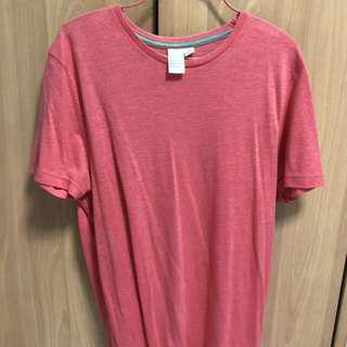 Pink/ Light Red Topman Plain T-Shirt
