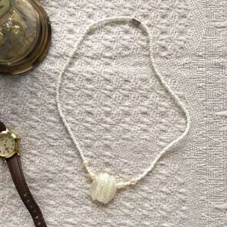 Handmade White Beads Necklace