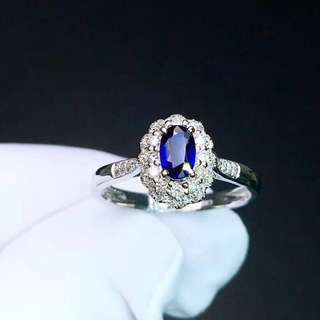 18K白金 藍寶石鑽石戒指
