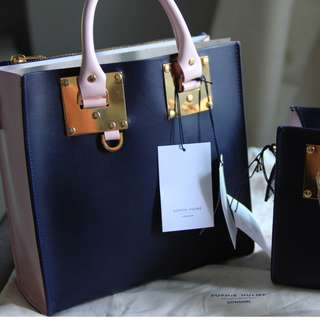 100% New Sophie Hulme Square Albion Tote Deep Navy Pastel Pink