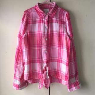 Est 1989 Girls' Pink Plaid Long Sleeves Polo (Size M)
