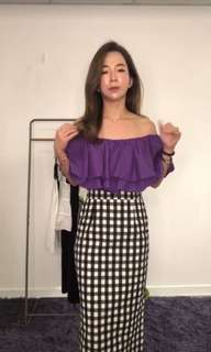 🚚 韓 超推大V紫色荷葉上衣 $899。+  黑色格子裙$849。   闆娘超推薦。
