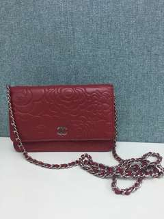 Chanel wallet on chain 山茶花 bag