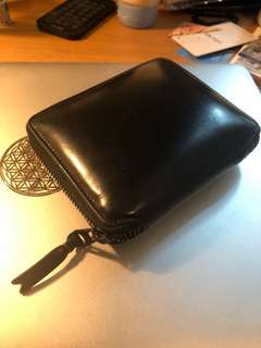 Comme des Garcons Leather Wallet Black Zip Coin bag