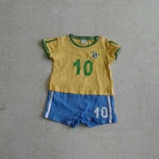 Baby World Cup Brazil Soccer Jersey Romper