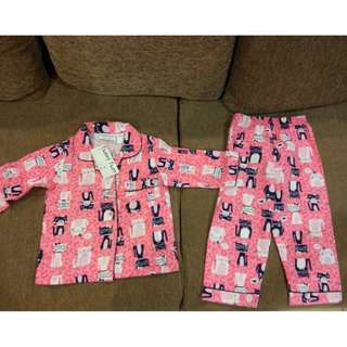 Baby Girls Cat Friends Flannel 2Pack Pajamas Set #July50