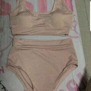 Beige High Waist Swimsuit