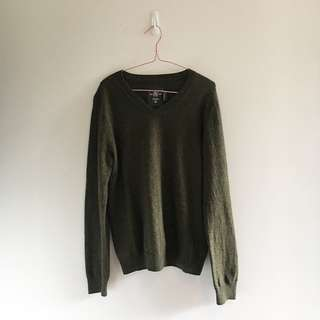 Khaki Green Unisex Sweater | Lambs Wool Blend |