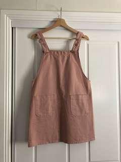 Blush pink dungaree dress
