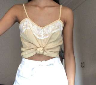 Pale yellow cami top with lace detail