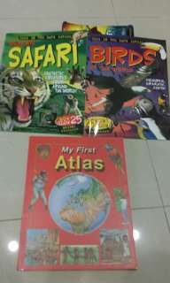 3 Books-1st Atlas,Wild Safari and Birds of the world  (Stickers)