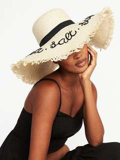 "Straw Beach Hat ""Sea Salt Sun"""