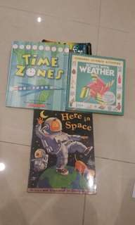 3 Books  (Timezones, Science with weather and Here in Space)