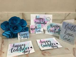 Paper Crafted Bouquet and Calligraphy Cards