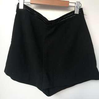 Black High Waisted Shorts with Sequin Waistband