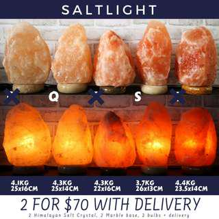 🚚 Authentic Himalayan Salt Crystal Lamps | Imported from Pakistan, Himalayan Mountains | PROMO BUNDLE WITH FREE DELIVERY 2 FULL SETS WITH MARBLE BASE AND BULB FOR ONLY $70 | NATURAL ANTI BACTERIAL CLEANSING PROPERTIES | ORGANIC RAW LUXURY