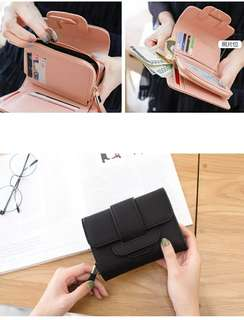 女士短夾女短款錢包多功能學生韓版可爱小清新折叠手拿包新款短皮夾多卡位大容量