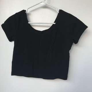 Black Tshirt Crop Top