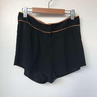 Babaton Aritzia Black Silk Shorts with Carmel Piping