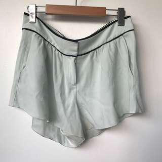 Pale Turquoise Babaton Aritzia Silk Shorts with Black Piping