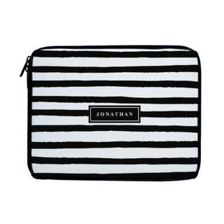 Personalized Laptop Sleeve Case Black Nautical Stripes